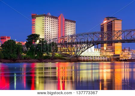 Shreveport, Louisiana, USA downtown skyline on the Red River.