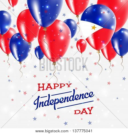 Philippines Vector Patriotic Poster. Independence Day Placard With Bright Colorful Balloons Of Count