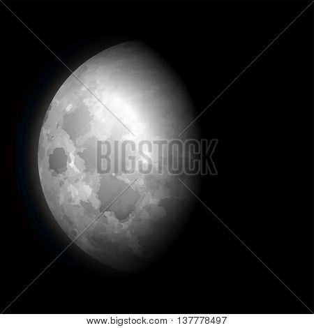 Moon phase on a black sky. Vector illustration.