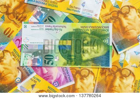 A Pile Of Swiss Franc Currency Banknotes