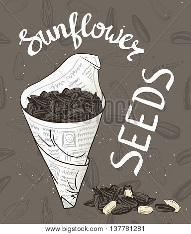 Bundle of newsprint with roasted sunflower seeds. Hand drawn vector illustration.
