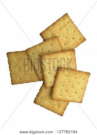 Crackers on white background for coffee in the morning.