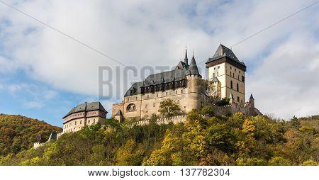 Karlstejn Castle in the autumn colors in the Czech Republic