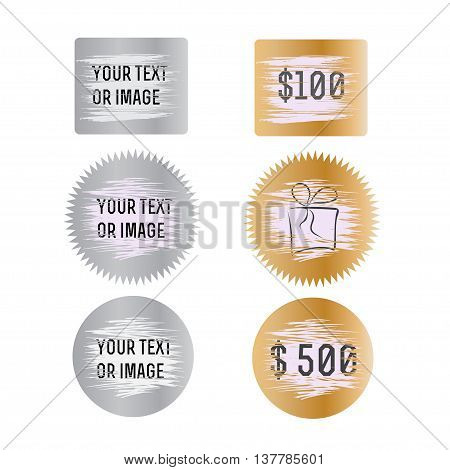 Letters scratch and win. With effect from scratch marks. Suitable for scratch card game and win. Vector illustration.