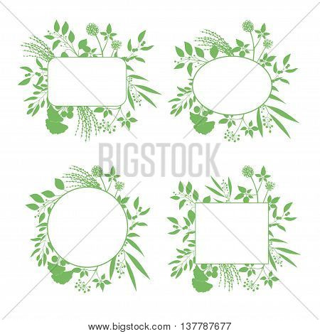 Set of green round and square vector frames with collection of plants. Silhouette of branches isolated on white background