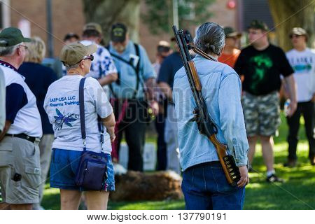 Boise, Idaho/usa - July 1, 2016: Man Wearing His Shotgun On His Shoulder To Support The Permitless C