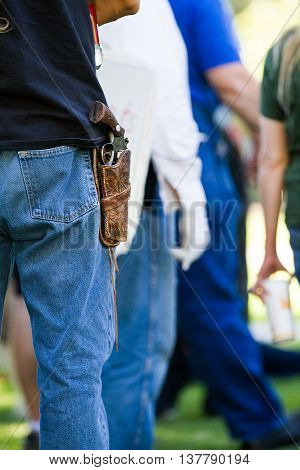 Boise, Idaho/usa - July 1, 2016: Mans Sidearm During The Gathering In Support Of Permitless Conceale