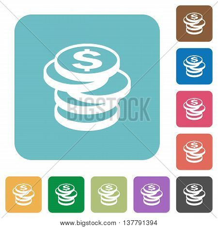 Flat dollar coins icons on rounded square color backgrounds.