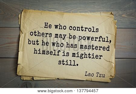 Ancient chinese philosopher Lao Tzu quote on old paper background. He who controls others may be powerful, but he who has mastered himself is mightier still.