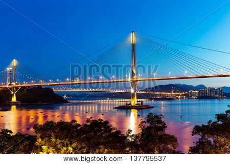 Ting Kau suspension bridge at night