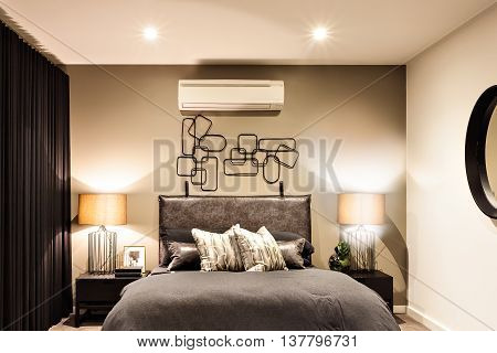 Modern Bedroom With Air Conditioner In A Luxury House