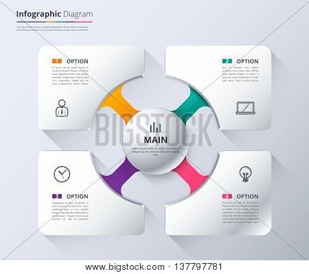 Diagram and infographic template used sample content. 4 choice infographic diagram system diagram and presentation. White presentation template for business. vector stock.