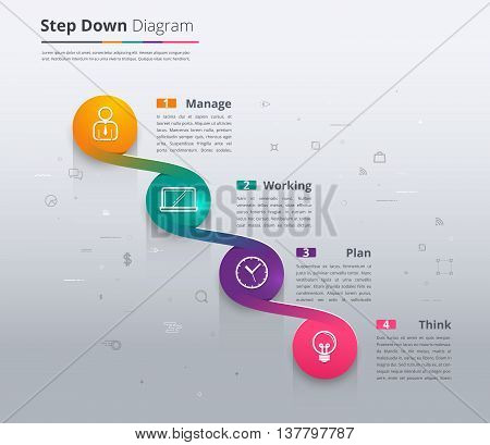 Simple stair infographic diagram. chart and icon sample. step down infographic. timeline infographic for presentation. vector stock.