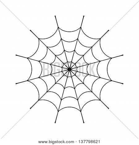 Spider web clip. Black cobweb element isolated on white background. Spiderweb silhouette graphic. Symbol of halloween network trap and danger scary arachnid. Design tattoo. Vector illustration