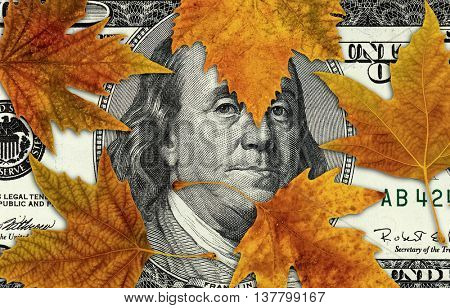conceptual image of autumn leaves on dollar bill