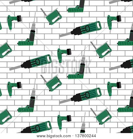 Power tools vector pattern seamless. Background pattern with power tools. Illustration seamless pattern brick wall