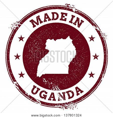 Uganda Vector Seal. Vintage Country Map Stamp. Grunge Rubber Stamp With Made In Uganda Text And Map,