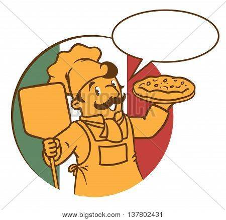 Emblem of funny cook or chef or baker with pizza on background colors of the Italian flag. Children vector illustration in low or discreet colors. With balloon for text.