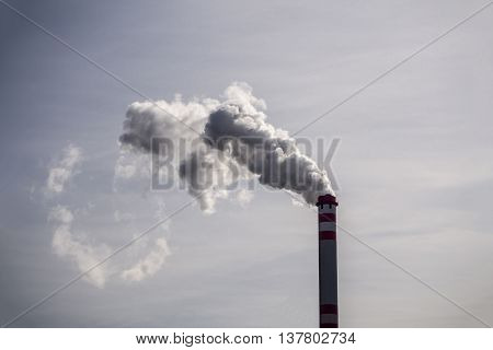 High chimney producing a lot of toxic gases poster