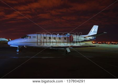 Kiev Ukraine - March 27 2011: Cessna 560XL Citation Exel business jet during the night in the airport