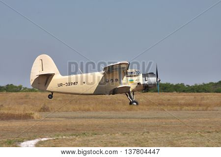 Odessa Ukraine - August 27 2011: Antonov An-2 biplane is taking off from the airfield