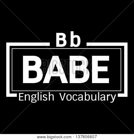 an images of BABE english word vocabulary illustration design