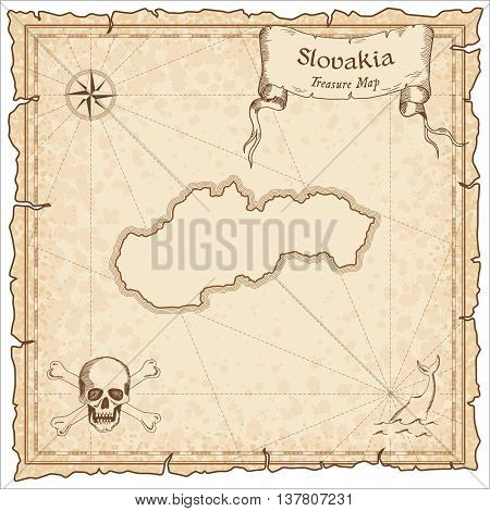 Slovakia Old Pirate Map. Sepia Engraved Template Of Treasure Map. Stylized Pirate Map On Vintage Pap