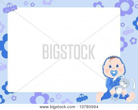 Blue frame for boy, vector illustration