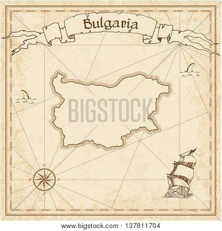 Bulgaria Old Treasure Map. Sepia Engraved Template Of Pirate Map. Stylized Pirate Map On Vintage Pap