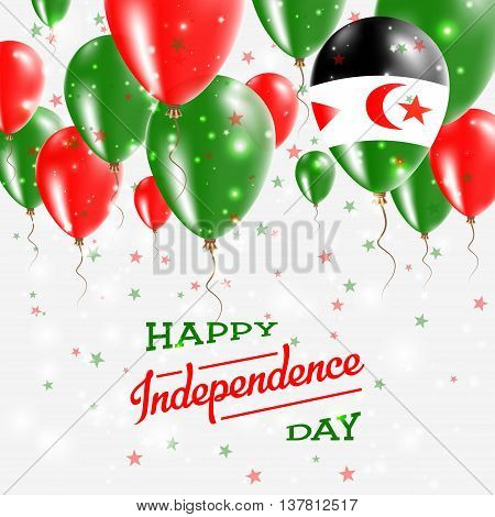 Western Sahara Vector Patriotic Poster. Independence Day Placard With Bright Colorful Balloons Of Co