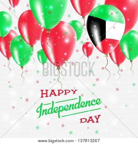 Kuwait Vector Patriotic Poster. Independence Day Placard With Bright Colorful Balloons Of Country Na