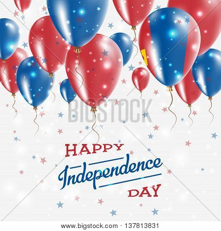 Mongolia Vector Patriotic Poster. Independence Day Placard With Bright Colorful Balloons Of Country