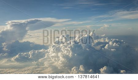 Aerial sky and  clouds in sunshine