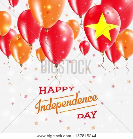 Vietnam Vector Patriotic Poster. Independence Day Placard With Bright Colorful Balloons Of Country N