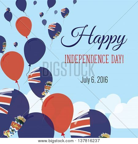 Independence Day Flat Greeting Card. Cayman Islands Independence Day. Caymanian Flag Balloons Patrio