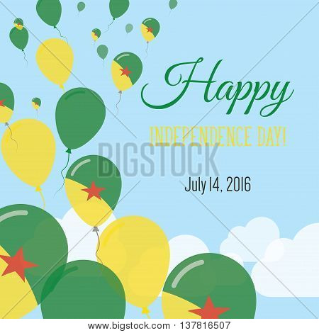 Independence Day Flat Greeting Card. French Guiana Independence Day. French Guiana Flag Balloons Pat