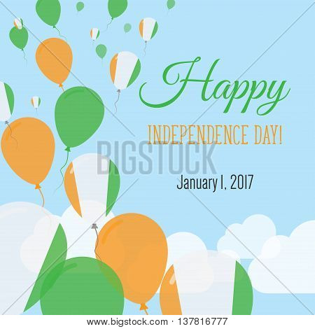 Independence Day Flat Greeting Card. Cote D'ivoire Independence Day. Ivorian Flag Balloons Patriotic
