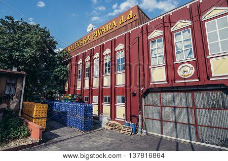 Sarajevo Bosnia and Herzegovina - August 23 2015. Main building of Bosnian brewing company - Sarajevska pivara in Sarajevo