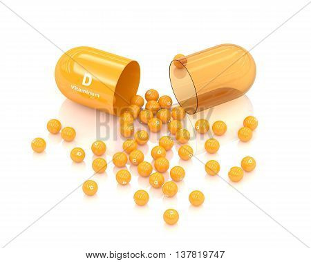 3D Rendering Vitamin D Capsule Lying On White