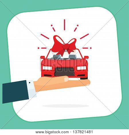 New car gift badge vector illustration, hand holding red auto with bow present, automobile gift logo, flat happy, dealership delivery service ribbon, sticker icon design isolated on white, sign