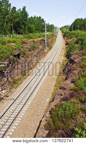 railroad passes through a rock in Vyborg Russia