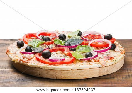 pizza with ham and cheese isolated white background