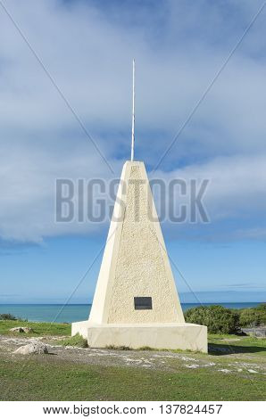Obelisk at Horseshoe Bay Port Elliot South Australia. Part of the Fleurieu Peninsula. Portrait Orientation.