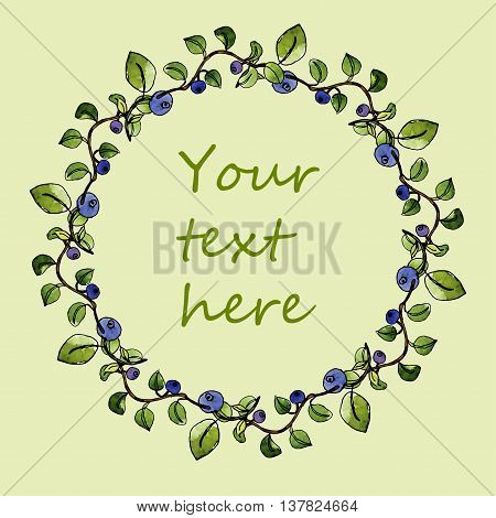 Watercolor blueberry wreath hand drawn blueberry frame clip art