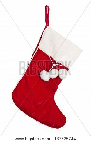 Christmas stockings on the mantel isolated on white