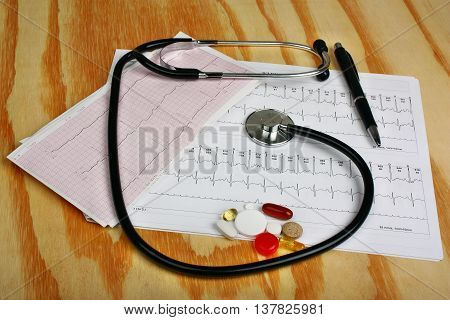 Cardiogram, Stethoscope And  Pills