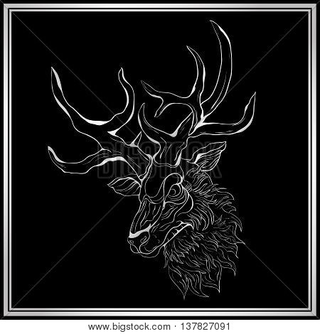 Silver deer on the black background. Deer in a silver frame. Hand-drawing illustration.