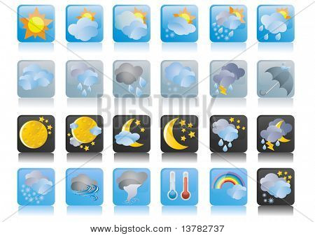 Vector illustration of collection of weather icons