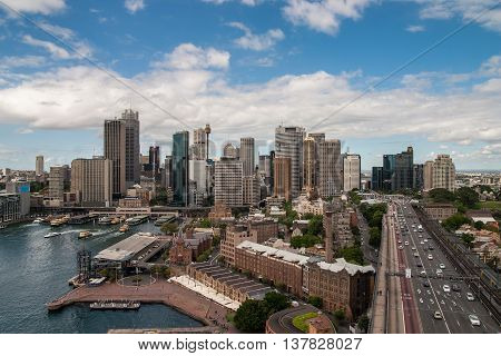 Skyline of Sidney from the top of the Habour Bridge
