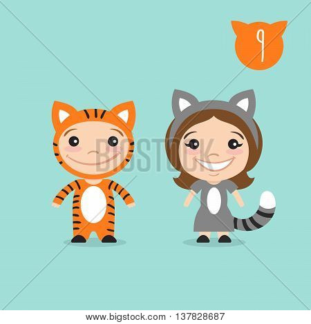 Vector illustration of two happy cute kids characters. Boy in tiger costume and a girl in cat costume.